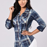 Favorite Flannel Top - Indigo