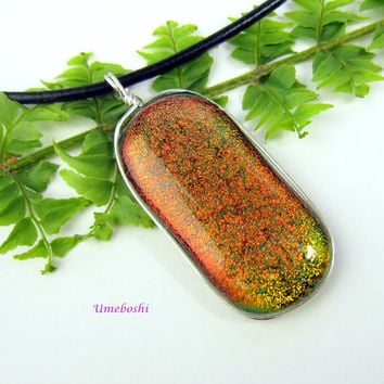 Sweet Orange Dichroic Fused Glass Pendant in Orange and Green - Argentium Sterling Silver Wire Wrapped
