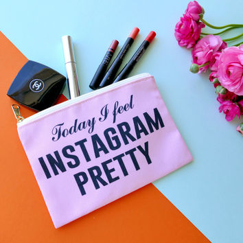 Today I Feel Instagram Pretty Travel Makeup Pouch Wristlet