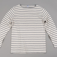 HIGH-DENSITY COTTON BASQUE SHIRT, NATURAL / MIX GREY BORDER STRIPE :: HICKOREE'S