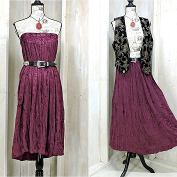 Strapless velvet dress / Long skirt / size M / crushed velvet maxi skirt / boho dress /  gypsy / festival / purple fuchsia / Judy Knapp USA