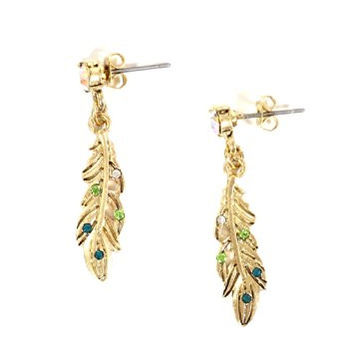 Feather Dangle Earrings Aurora Borealis Crystal Plume Gold Tone EF63 Fashion Jewelry
