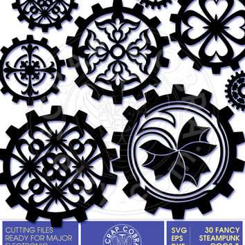 Fancy Steampunk Cogs & Gears - SVG, eps, DXF, PNG Cut Files - Digital Downloads for e-cutting machines, Silhouette Studio, Cricuit - cv-496
