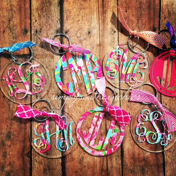 Lilly Pulitzer Monogrammed Keychain - Lilly Pulitzer Monogrammed Acrylic Keychain - Lilly Acrylic Keychain - Lilly Monogrammed Keychain