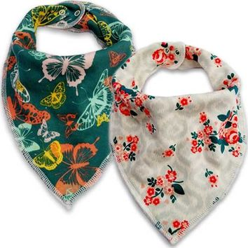 Organic Cotton Bandana Drool Bibs Flowers & Butterflies (Set of 2)
