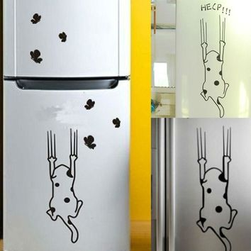 Home Decor Cat Pattern Furniture Glass Stickers Refrigerator Kitchen Cabinet Wall Stickers