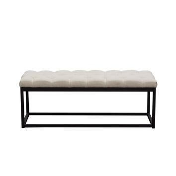 Mateo Black Powder Coat Metal Small Linen Tufted Bench - Desert Sand Linen