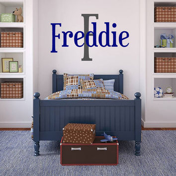 Wall Decal - Boys name wall decal, monogram name decal, children's decor vinyl name wall decal, vinyl lettering, vinyl wall art