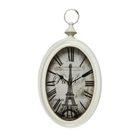 Adeco White Iron Vintage-Inspired Pocket Watch Style Wall Hanging Clock Roman Numerals, Eiffel Tower Home Decor