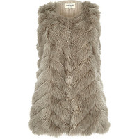 River Island Womens Grey faux fur knitted back vest