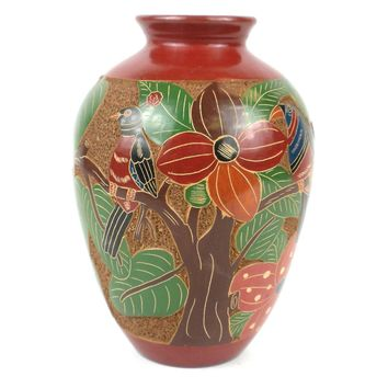 7 inch Tall Relief Vase - Tree of Life - Esperanza en Accion