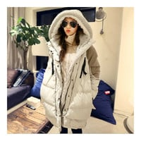 Woman Winter Thick Loose Middle Long Down Coat    beige   S
