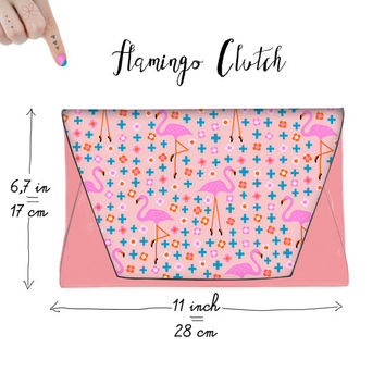 Flamingo faux Leather Clutch Pink Blue Trendy Cool Purse Flamingos Flamingoes Ballerina Daisies Cross Plus Signs Pattern