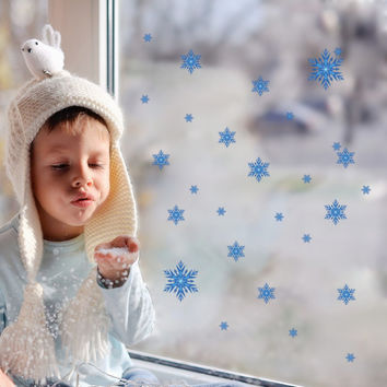 Snowflakes Snow Flakes Frozen Window Wall Sticker Girls Bedroom Holiday Decals