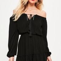 Missguided - Tall Black Ruffle Hem Tassel Dress