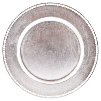Silver Charger Plates, Set of 4, Acrylic / Lucite, Chargers