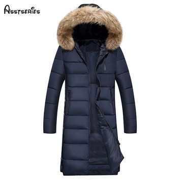 2018 Men Clothing Jackets Business Long Thick Winter Cotton Coat Men Solid Parkas Fashion Overcoat Outerwear With Big Fur D168
