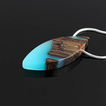 Resin wood jewelry, Magic world jewelry, Glow in the dark resin jewelry, Magic wood jewelry, Wooden necklace, Resin wood pendant, Wood gift