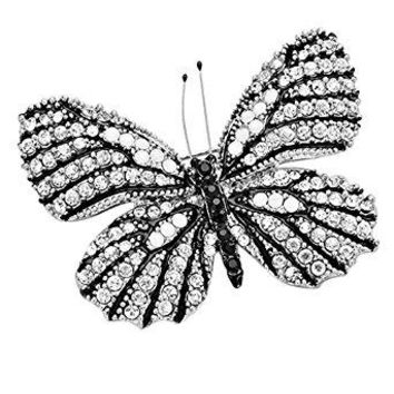 Rosemarie Collections Womens Dazzling Crystal Butterfly Brooch Pin