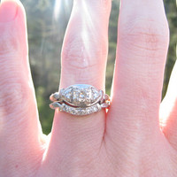 Vintage Wedding Set, Original Matching Diamond Engagement Ring and Curved Diamond Band with Locking Mechanism, Circa 1940s