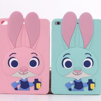 For ipad 6 Cartoon Bunny Cute Crazy animal City 3D Rabbit Silicon Skin Shell For APPLE iPad air 2 Cover Case coque