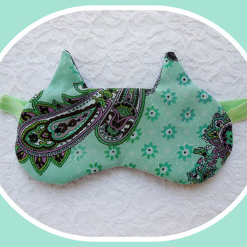Cat Ears Sleep Mask - Turquoise Paisley - Soft Comfortable - Cute Women's Eye Mask - Black Flannel Light Blocking - Paisley Night Mask