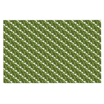 "Holly Helgeson ""Deco Calla Lily"" Green White Decorative Door Mat"