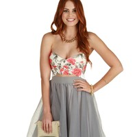 Sale-coral Rose Bud Bustier Top