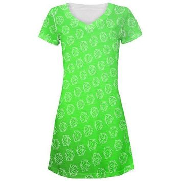 PEAPGQ9 D20 Gamer Critical Hit and Fumble Green Pattern All Over Juniors Beach Cover-Up Dress
