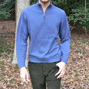100% Cashmere Sweater by L.L. Bean - 1/2 Zip Collar - Blue - Men's Size Small (S)