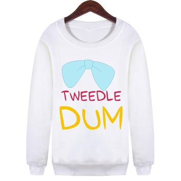 Girlfriends/sweethearts Outfit Text Printing TWEEDLE DEE/DUM Unisex Pullovers Sweatshirts to Winter