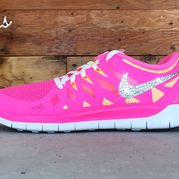 Nike Free Run 5.0 Youth Glitter Kicks Running Shoes Pink/Green/White