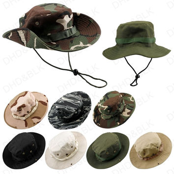 Bucket Hat Boonie Hunting Fishing Outdoor Men Cap Washed Cotton NEW W/ STRINGS RL23-0007