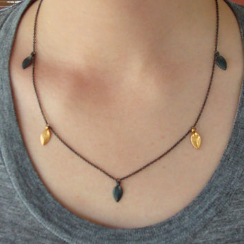 Succulent Leaves Silver & Gold Necklace