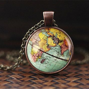 SUTEYI New Arrived DIY Globe Dome Necklace Earth World Map Pendant Glass Chain Jewelry New York Map Handmade Necklace GN28