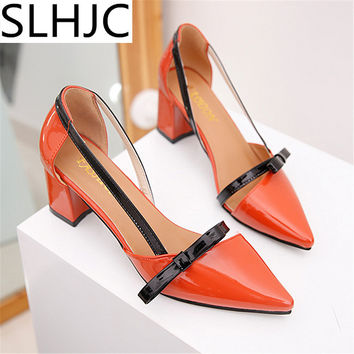 SLHJC Summer Fashion Rivet Pumps Pointed Toe High Heel Leather Sandals All Match Women Square Heel Shoes