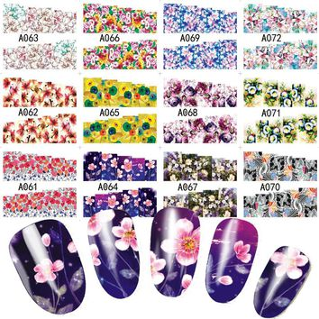 12 Designs/lot Large Size Blossom Flower Summer Salon Nails Art Full Tips Water Transfer Decals Nail Sticker A061-072