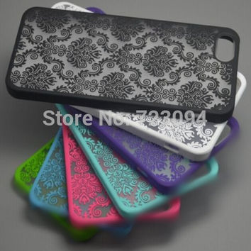 Free Shipping Rubberized Damask Vintage Pattern Matte Hard Case Cover For Apple iPhone 4 4S 5 5S