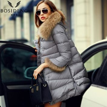 Women's clothing winter jacket outwear down coat thick real natural fur collar hooded detachable coat fur cuff