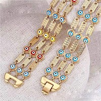 Multi-Links  Evil Eye 18Kts of Gold Plated Bracelet
