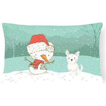 Westie Terrier Snowman Christmas Canvas Fabric Decorative Pillow CK2097PW1216