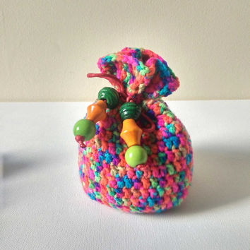 Rainbow Dice Bag, Large Drawstring Bag, Neon Bag of Holding. Crocheted Purse, Round Pouch Bag, Counter Bag, Small Cosmetics Pouch,