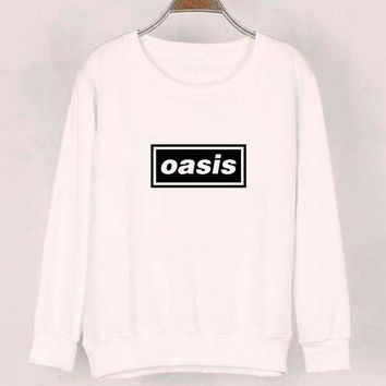 oasis sweater White Sweatshirt Crewneck Men or Women for Unisex Size with variant colour