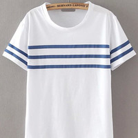 White Stripe Panel T-Shirt