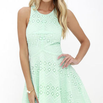 Dream Whirled Mint Lace Skater Dress