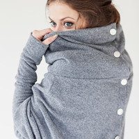 Grey LeMuse asymmetric sweater with buttons