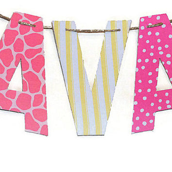 Fabric Letter Banner, Baby Girl Nursery Bunting, Custom Letter Garland, Kid's Name Wall Decor Child's Name Banner Kids Custom Playroom Decor