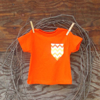 Girls Chevron Pocket T,  appliqued T, 6, 12, months, 2 T, 3 T, 4 T,  fall, thanksgiving, orange, chevron