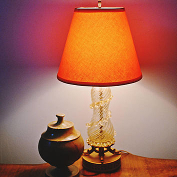 Barovier & Toso Art Glass Lamp, Glass And Metal Lamp, Vintage Table Lamp