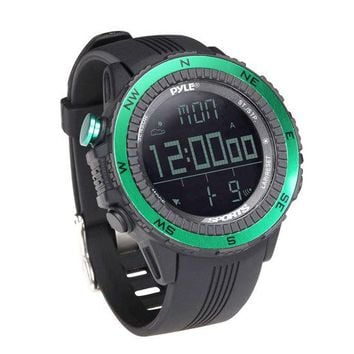Digital Multifunction Active Sports Watch with Altimeter, Barometer, Chronograph, Compass, Count-Down Timer, Measuring & Weather Forecast Modes (Green)